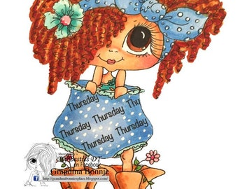 INSTANT DOWMLOAD Digital Digi Stamps Big Eye Big Head Dolls Digi Of The Week Besties THURSDAY  By Sherri Baldy