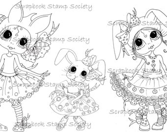 INSTANT DOWNLOAD Digital Digi Stamps Besties Big Head Dolls Digi Bunny Grils By Sherri Baldy