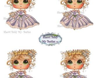 Instant Download DecBKcoloredprintable1 3D Decoupage kit Besties Big Head Dolls Digi By Sherri Baldy