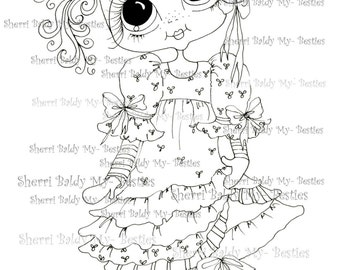 INSTANT DOWNLOAD Digital Digi Stamps Big Eye Big Head Dolls Viola Violet Bestie By Sherri Baldy