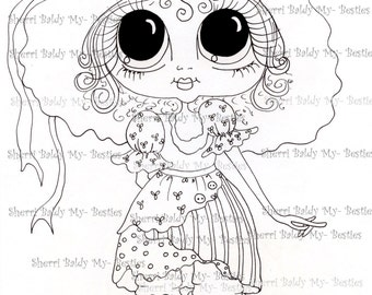 INSTANT DOWNLOAD Digital Digi Stamps Big Eye Big Head Dolls Img096 Bestie By Sherri Baldy