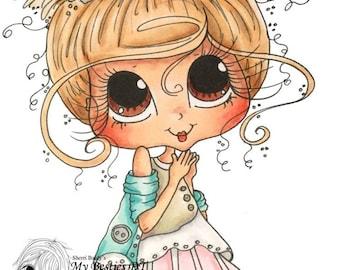 INSTANT DOWNLOAD Digital Digi Stamps Big Eye Big Head Dolls Digi  Besties Of Faith  Girl Img 875  By Sherri Baldy