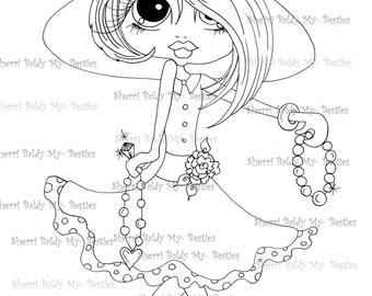 INSTANT DOWNLOAD Digital Digi Stamps Big Eye Big Head Dolls Digi Little Miss Bling Scan0002dec181 By Sherri Baldy