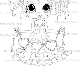 INSTANT DOWNLOAD Digital Digi Stamps Big Eye Big Head Dolls Digi  Molly Love Bug  By Sherri Baldy