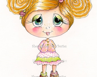 INSTANT DOWNLOAD Digital Digi Stamps Big Eye Big Head Dolls NEW Besties img659 Doodle Butt My Besties By Sherri Baldy