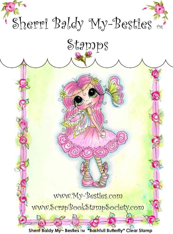 My-Besties Clear Rubber Stamp Big Eye Besties Big Head Dolls Bashful Butterfly MYB-0060  By Sherri Baldy
