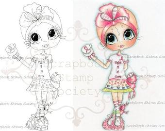 INSTANT DOWNLOAD Digital Digi Stamps Big Eye Big Head Dolls Digi  Fight For A Cure By Sherri Baldy