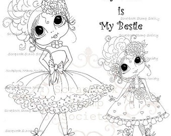 INSTANT DOWNLOAD Digital Digi Stamps Big Eye Big Head Dolls Digi   Besties  My Mom Is My Bestie  By Sherri Baldy