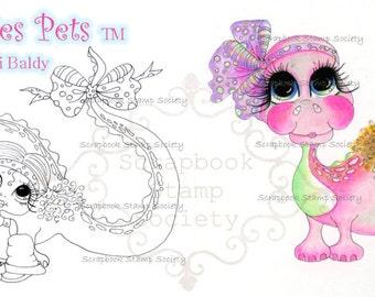 INSTANT DOWNLOAD Digital Digi Stamps Big Eye Big Head Dolls Digi   Besties Tiny and Supersaurus By Sherri Baldy