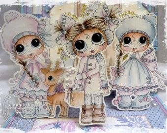 SOFORTIGER DOWNLOAD Digi Stamps Big Eye Großkopf Dolls Digi Bestie Winter Wonderland Girls von Sherri Baldy