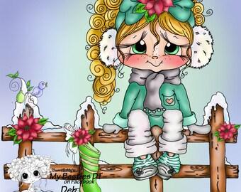 INSTANT DOWNLOAD Digital Digi Stamps Big Eye Big Head Dolls Bestie New Bestie  Lil Rosie Fence  Besties By Sherri Baldy