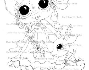 INSTANT DOWNLOAD Digital Digi Stamps Big Eye Big Head Dolls Digi  My - Besties  Winter Wonder Land Reindeer   By Sherri Baldy