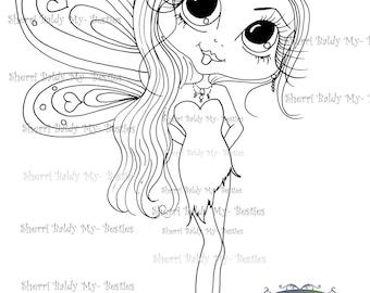 INSTANT DOWNLOAD Digi Stamps Big Eye Big Head Dolls Digi Winged One Cynthia By Sherri Baldy