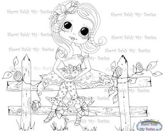 INSTANT DOWNLOAD Digi Stamps Big Eye Big Head Dolls Digi Bestie Prissy Poney Candy Little Fence Girl By Sherri Baldy