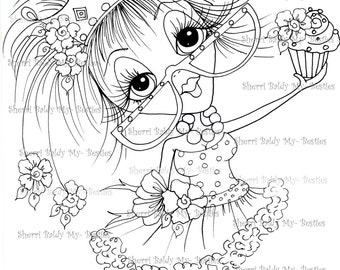 INSTANT DOWMLOAD Digital Digi Stamps Big Eye Big Head Dolls Digi Crafty Chicks img556 By Sherri Baldy