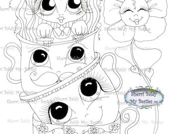 INSTANT DOWNLOAD digitale Digi Stamps Big Eye Big hoofd poppen Img165 Alice In het kijkglas Bestie door Sherri Baldy