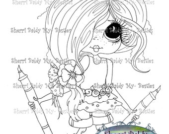 INSTANT DOWNLOAD Digital Digi Stamps Big Eye Big Head Dolls Lets Color My Besties By Sherri Baldy