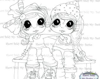 INSTANT DOWNLOAD Digital Digi Stamps Big Eye Big Head Dolls  My Besties Digi Bestie Friendship By Sherri Baldy