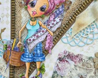 INSTANT DOWMLOAD Digital Digi Stamps Big Eye Big Head Dolls Digi Crafty Chicks Img553  By Sherri Baldy