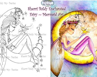 INSTANT DOWNLOAD Digital Digi Stamps Big Eye Big Head Dolls Wish Upon A Star Img074 By Sherri Baldy