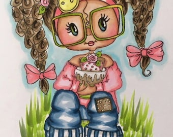 INSTANT DOWNLOAD Digital Digi Stamps Big Eye Big Head Dolls Digi Becky Birthday Bestie Sweet Geek by Sherri Baldy  By Sherri Baldy