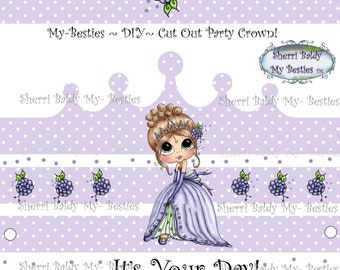 Instant Dwonload 3D deco Card Toppers & Papers Bestie Mandy Big Head Dolls  Princes Twinkle Toes Crown By Sherri Baldy