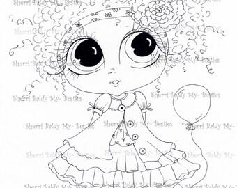 INSTANT DOWNLOAD Digital Digi Stamps Big Eye Big Head Dolls img465 By Sherri Baldy