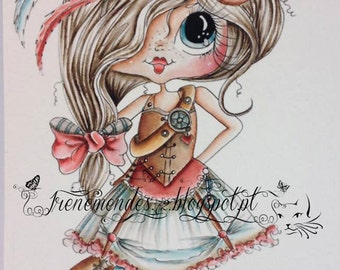INSTANT DOWMLOAD Digital Digi Stamps Big Eye Big Head Dolls Digi Img600 Best Besties Forever By Sherri Baldy