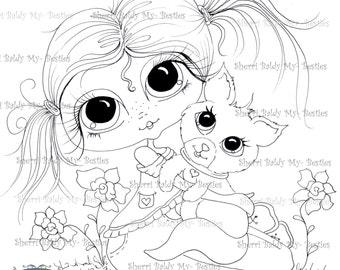 INSTANT DOWNLOAD Digital Digi Stamps Big Eye Big Head Dolls Digi My Kitty Bestie Img491-2 By Sherri Baldy