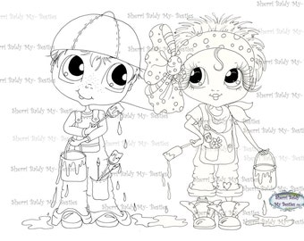 INSTANT DOWNLOAD Digital Digi Stamps Big Eye Big Head Dolls Painter Besties Bestie By Sherri Baldy