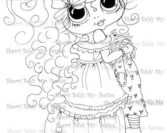 INSTANT DOWNLOAD Digi Stamps Big Eye Big Head Dolls Digi Bestie IMG120 By Sherri Baldy
