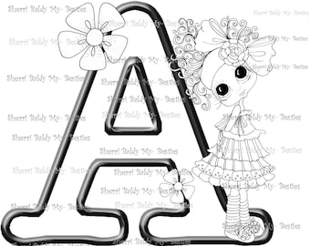 INSTANT DOWNLOAD Digital Digi Stamps Big Eye Big Head Dolls Digi  My Besties Alphabet Letter A  By Sherri Baldy