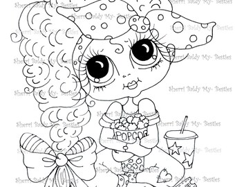 INSTANT DOWNLOAD  Digital Digi Stamps Big Eye Big Head Dolls Img122 Bestie By Sherri Baldy