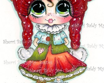 INSTANT DOWNLOAD Digital Digi Stamps Big Eye Big Head Dolls Digi Snow Girl Besties By Sherri Baldy