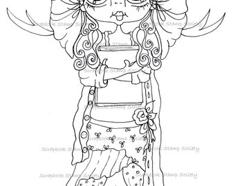 INSTANT DOWNLOAD Digital Digi Stamps Big Eye Big Head Dolls Digi  IMG804 By Sherri Baldy