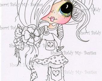 INSTANT DOWNLOAD Digital Digi Stamps Big Eye Big Head Dolls Digi  My Besties Partly Colored IMG43722 By Sherri Baldy