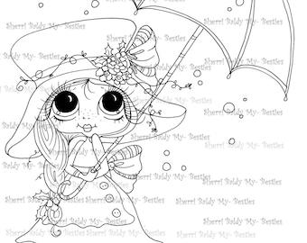 INSTANT DOWNLOAD digitale Digi Stamps Big Eye Big hoofd poppen Digi Raning sneeuwvlokken door Sherri Baldy