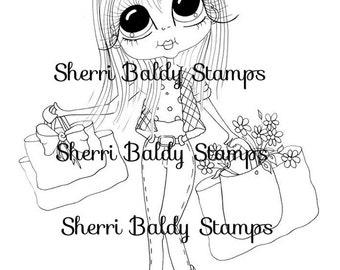 INSTANT DOWNLOAD Digital Digi Stamps Big Eye Big Head Dolls Veronica Shopping  My Besties By Sherri Baldy