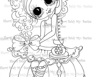 INSTANT DOWNLOAD Digi Stamps Big Eye Big Head Dolls Digi Bestie IMG119 By Sherri Baldy