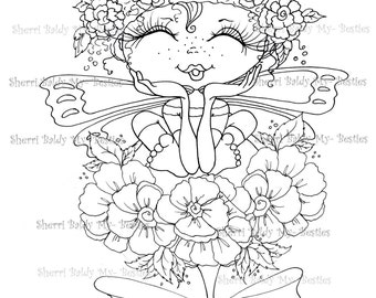 INSTANT DOWNLOAD Digi Stamps Big Eye Big Head Dolls Digi Bestie IMG444 By Sherri Baldy