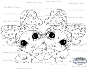 INSTANT DOWNLOAD Digital Digi Stamps Big Eye Big Head Dolls Digi  My - Besties Twins By Sherri Baldy
