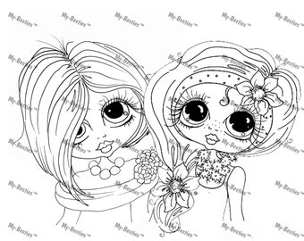 INSTANT DOWNLOAD Digital Digi Stamps Big Eye Big Head Dolls Besties Digi The Girls By Sherri Baldy