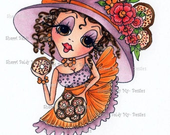 INSTANT DOWMLOAD Digital Digi Stamps Big Eye Big Head Dolls Digi Crafty Chicks Youre So Sweet By Sherri Baldy