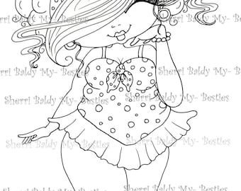 INSTANT DOWMLOAD Digital Digi Stamps Big Eye Big Head Dolls Digi New Fluffy Beautiful Besties Tm  img081 By Sherri Baldy