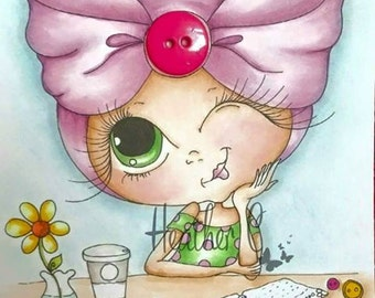 INSTANT DOWNLOAD Digital Digi Stamps Big Eye Big Head Dolls NEW Besties img695wm Doodle Butt My Besties By Sherri Baldy