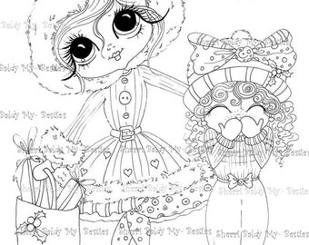 INSTANT DOWNLOAD Digi Stamps Big Eye Big Head Dolls Digi Bestie Holiday Shopping With Mom My Bestie By Sherri Baldy