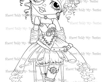 INSTANT DOWMLOAD Digital Digi Stamps Big Eye Big Head Dolls Digi Scan00062  By Sherri Baldy