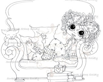 INSTANT DOWNLOAD Digi Stamps Big Eye Big Head Dolls Digi IMG775 By Sherri Baldy