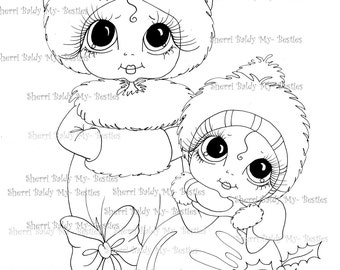 INSTANT DOWNLOAD digitale Digi Stamps Big Eye Big Head Dolls Digi Winter Wonderland imgA2 von Sherri Baldy