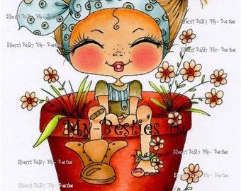 INSTANT DOWNLOAD Digital Digi Stamps Big Eye Big Head Dolls Digi Fairy Kitty IMG373 Garden Flower Bestie Daisy Ann  By Sherri Baldy